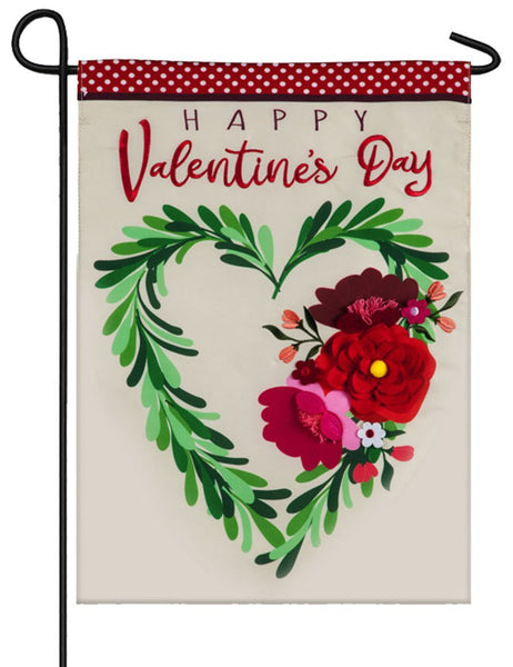 Valentine's Floral Heart Applique Garden Flag - I AmEricas Flags