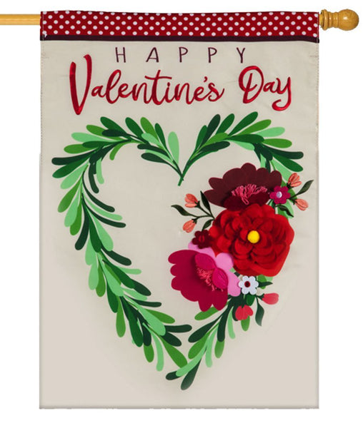 Valentine's Floral Heart Applique House Flag