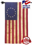 Vintage Tea Stained Sewn Cotton 2.5' x 4' Betsy Ross Flag