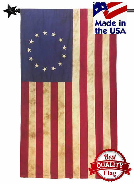 Vintage Tea Stained Sewn Cotton 2.5' x 4' Betsy Ross Flag - Historical Flags/Revolutionary War Flags - I AmEricas Flags