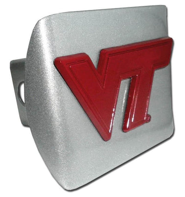 Virginia Tech University Maroon VT Brushed Chrome Hitch Cover