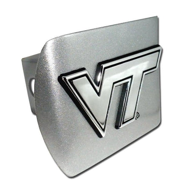 Virginia Tech University Brushed Chrome Hitch Cover