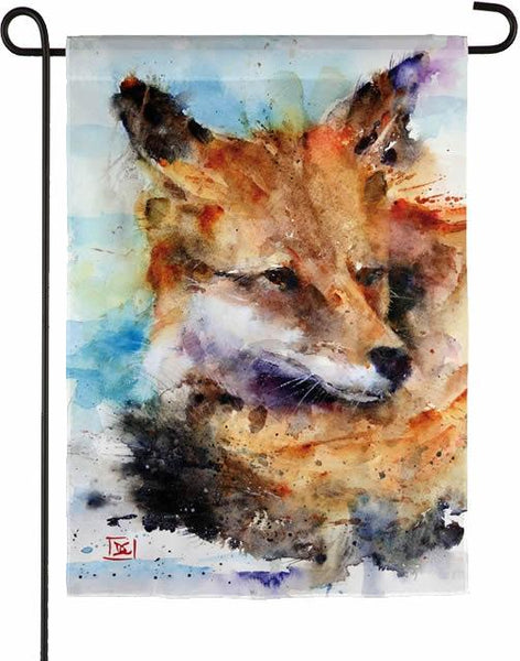 Watercolor Sleepy Fox Suede Reflections Garden Flag - I AmEricas Flags