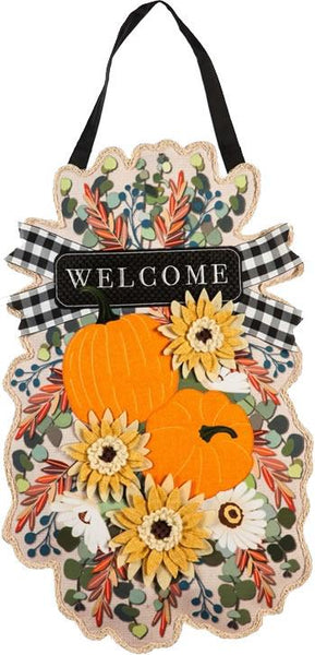 Welcome Fall Flowers and Pumpkins Decorative Door Hanger - I AmEricas Flags
