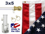 White 6ft Spinning Pole and USA Flag Kit with Embroidered Stars