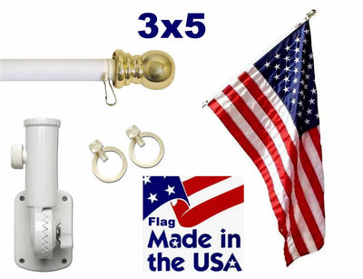White 6ft Spinning Pole and USA Flag Kit with Printed Stars