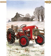 Winter Barn and Red Tractor Suede Reflections House Flag