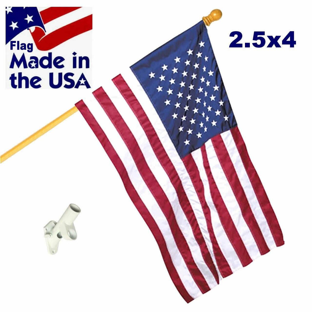 Wood 5ft Pole with Embroidered Nylon Flag Kit