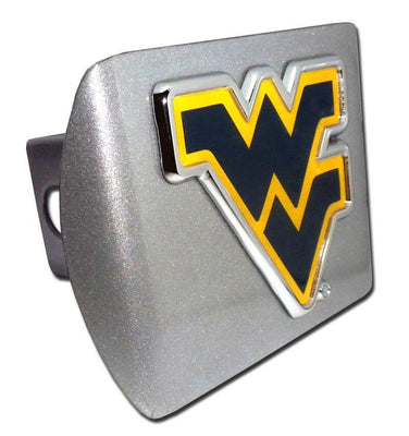 West Virginia University Navy Blue WV Brushed Chrome Hitch Cover