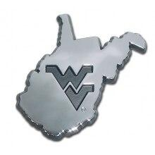 West Virginia University State Shaped Chrome Car Emblem