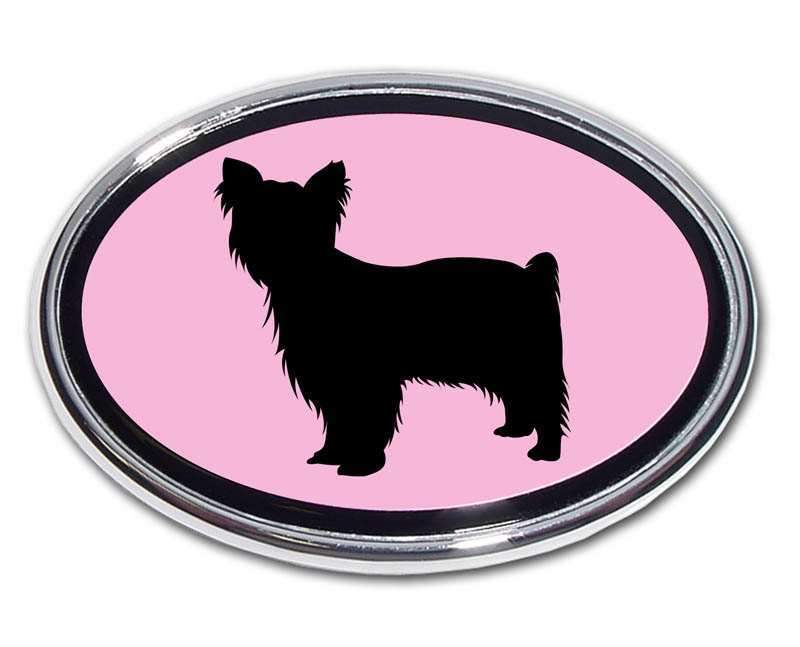 Yorkie Pink and Chrome Car Emblem