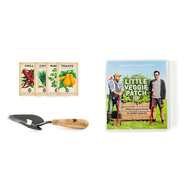 Book + Hand Trowel + Seasonal Heirloom Seeds