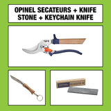 Opinel Secateurs + Keyring Knife + Sharpening Stone