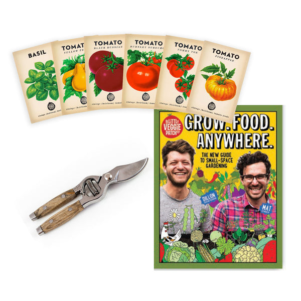 Grow.Food.Anywhere + Heirloom Tomato Seed Pack + Wooden Handled Secateurs