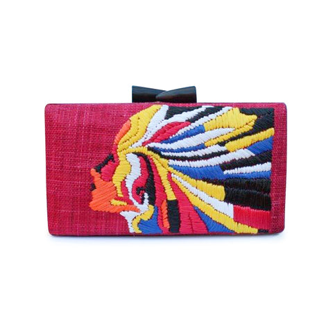 RAFFIA ISSA CLUTCH-RED