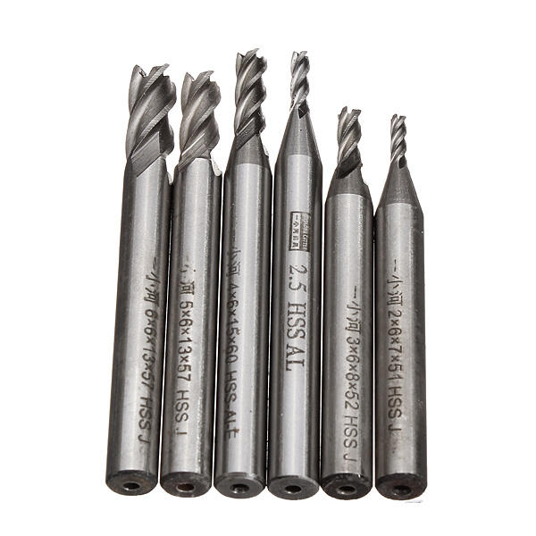 2mm 2.5mm 3mm 4mm 5mm 6mm 4 Flute Milling Cutter HSS End Mills Engraving Tools
