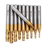 Etooly Titanium Coated 1.5-6.0mm HSS 4 Flute End Mill Cutter 6mm Shank CNC Drill Bits