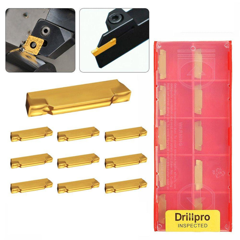 Metalworking Metal Lathe tooling Accessories Turning Tool Holder Boring Bar With Carbide Inserts Drillpro 10pcs MGMN200-G 2mm for MGEHR/MGIVR Grooving Cut Off
