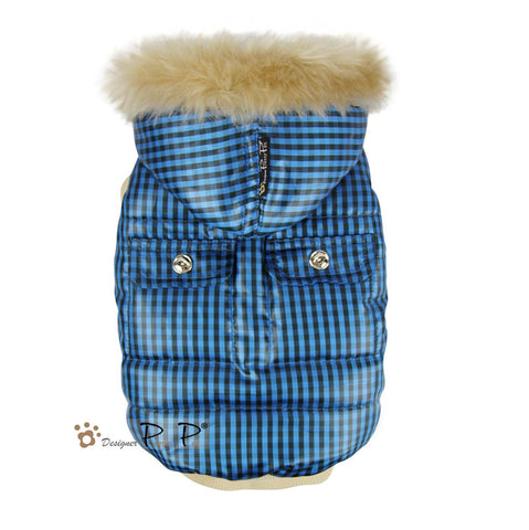 Checks Dog Coat Blue