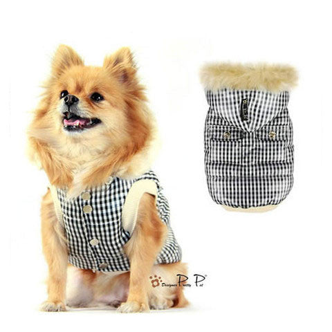 Checks Dog Coat White