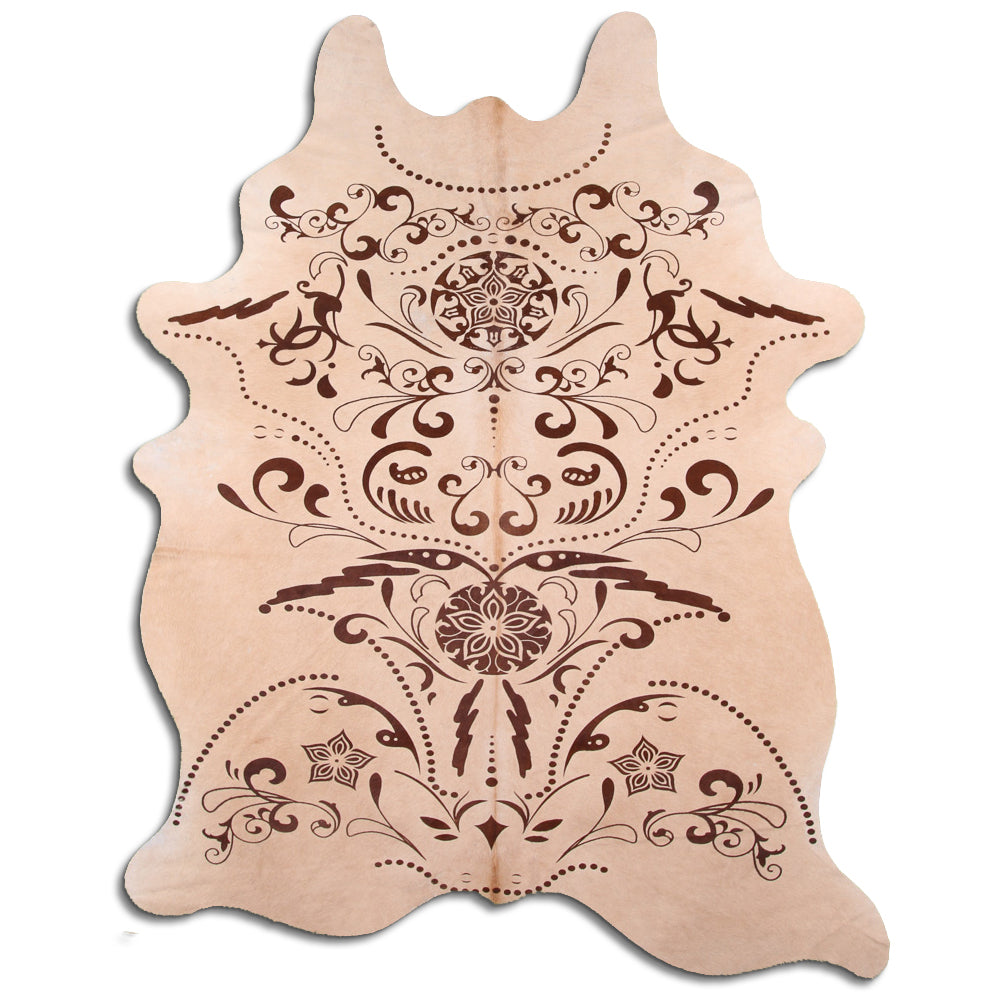 Hair-On Cowhide Rug - Beige Baroque