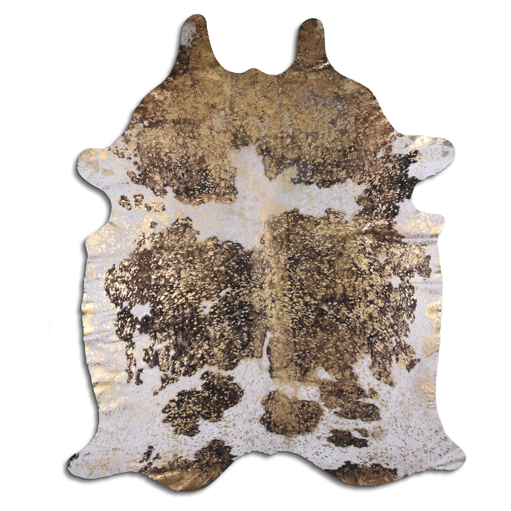 Hair-On Cowhide Rug - Acid Wash Gold Brown & White