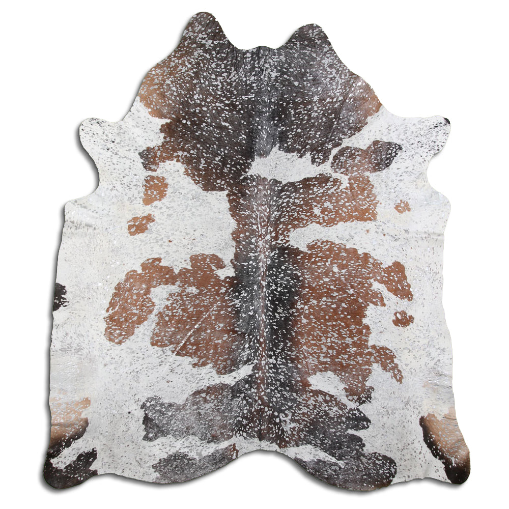 Hair-On Cowhide Rug - Acid Wash Silver Tri-Color