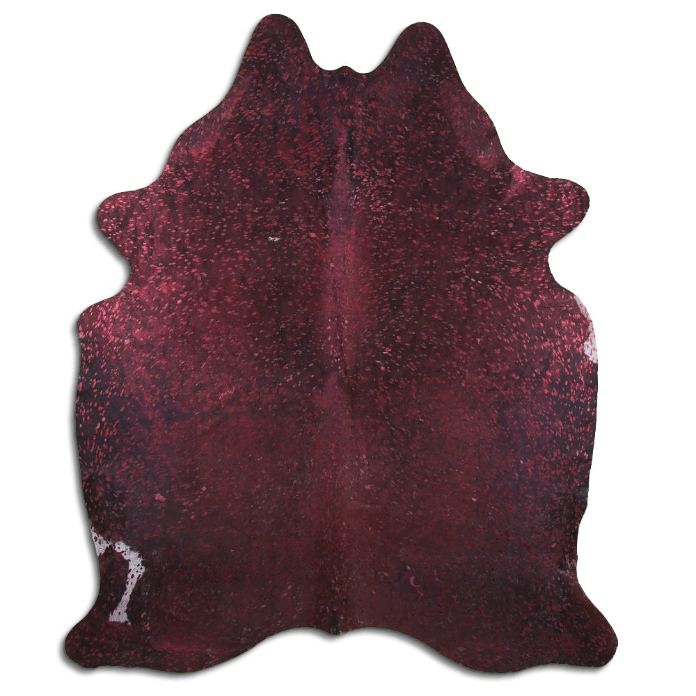 Hair-On Cowhide Rug - Acid Wash Burgundy & Black