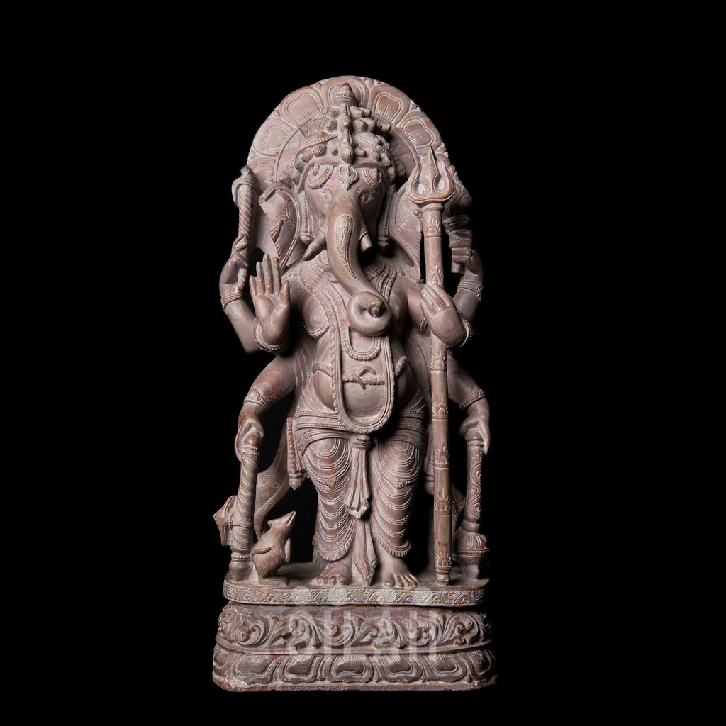 Maha Ganapathi with 6 Arms - Marble Stone Sculpture