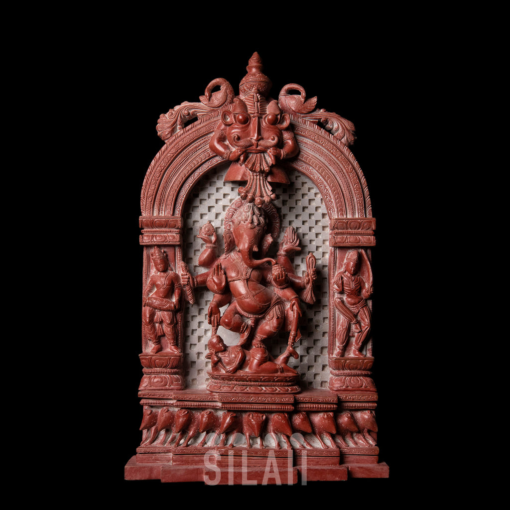 Temple Ganesh Dancing Red Marble Stone Sculpture
