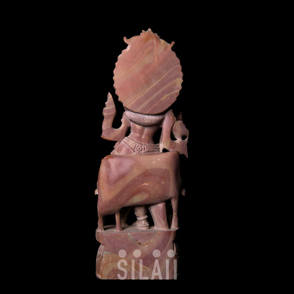 Lord Krishna with Two Cows Playing Flute Marble Stone Sculpture