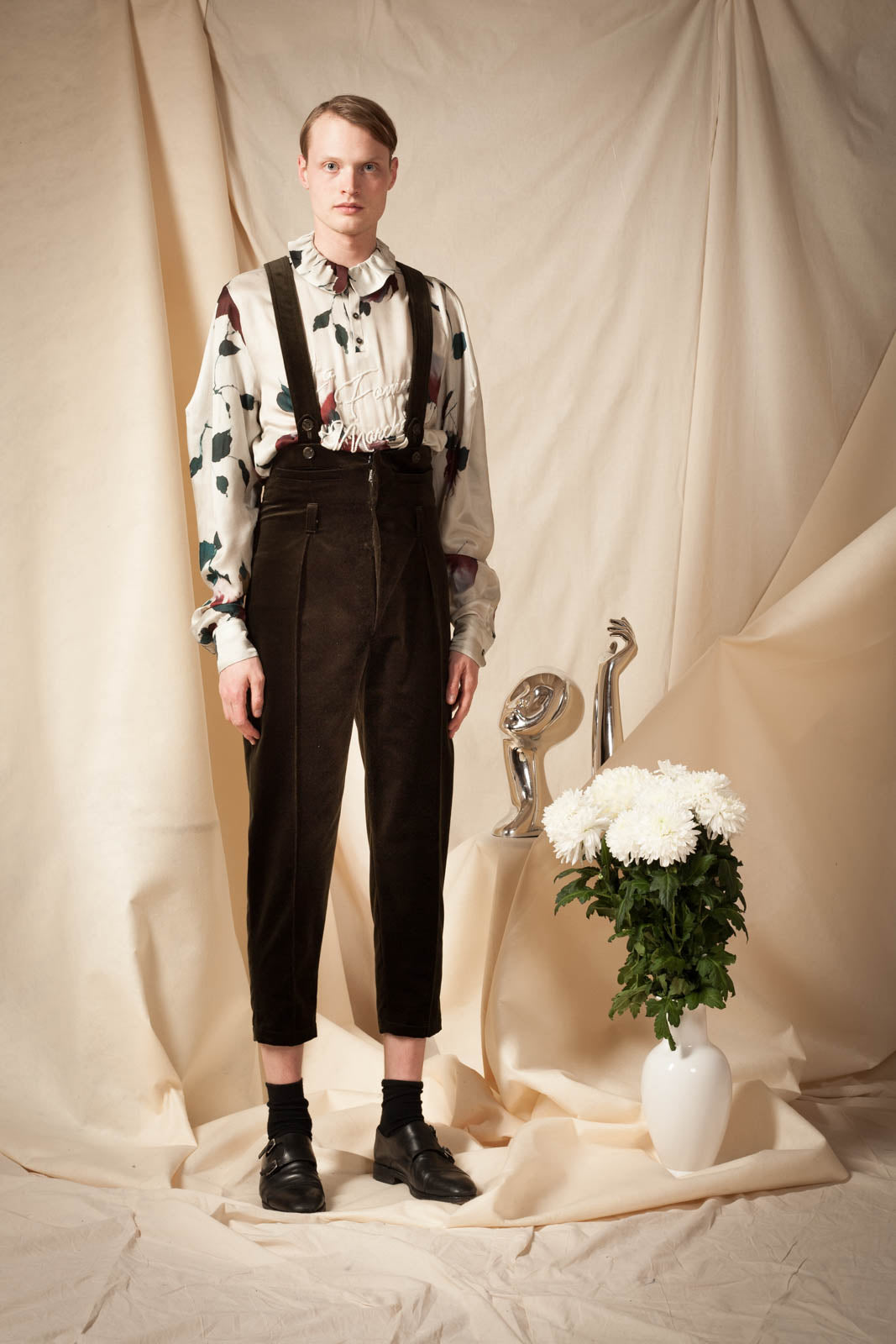 High Waisted Suspender Trousers
