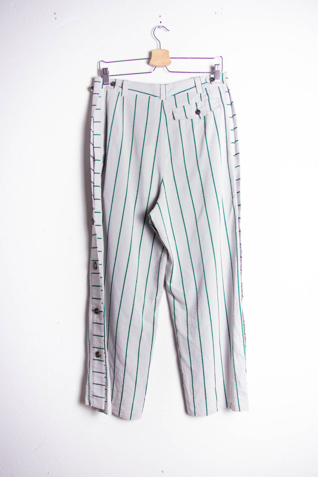 Green Stripes Button Trousers