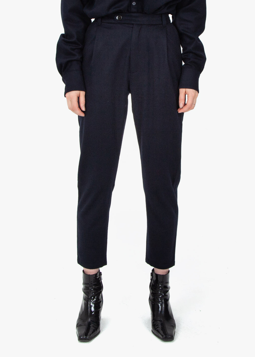 Pleated Trousers - Navy