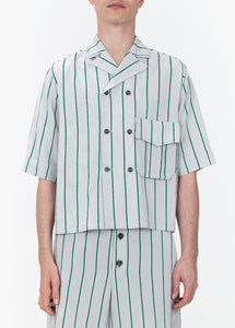 Double Breasted Shirt - Green Stripes