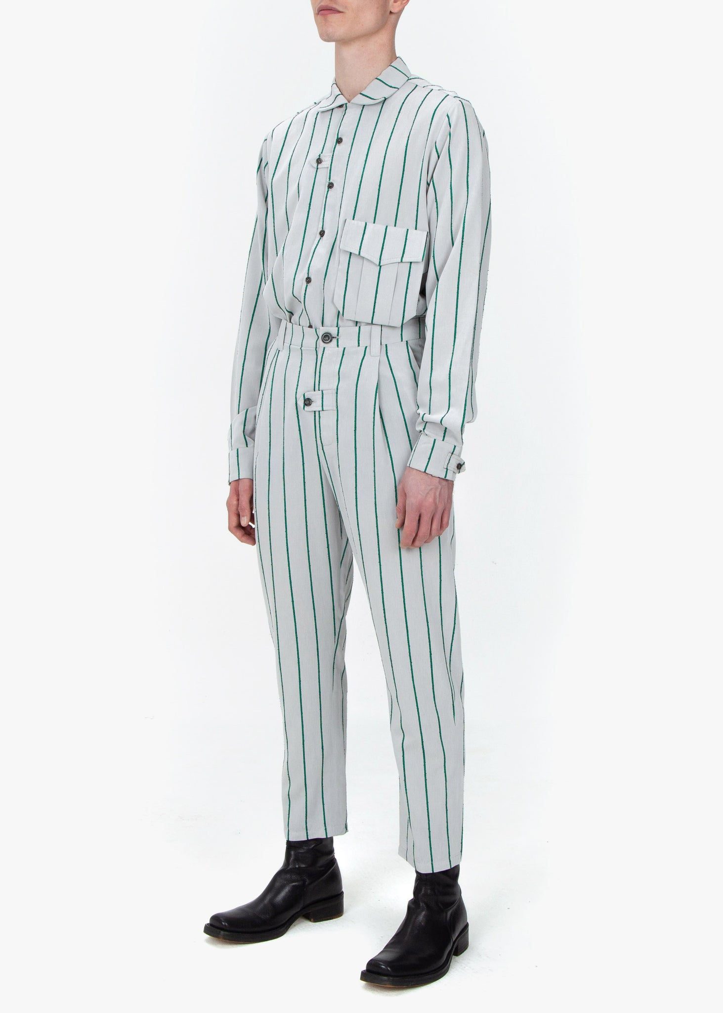 Pleated Trousers - Green Stripes