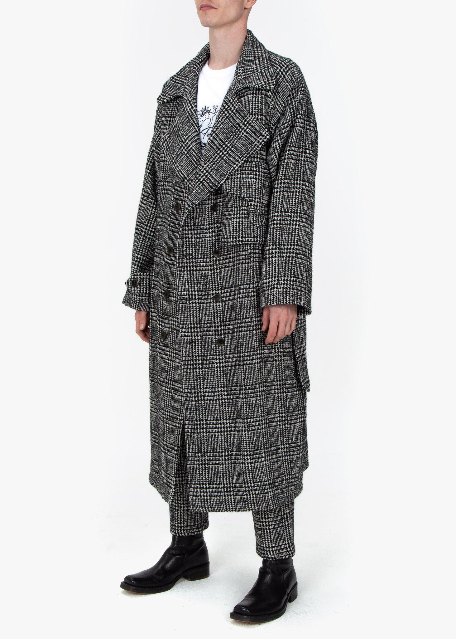 Trench Coat - B/W Checked