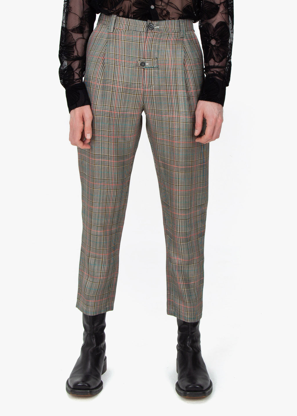Pleated Trousers - Checked