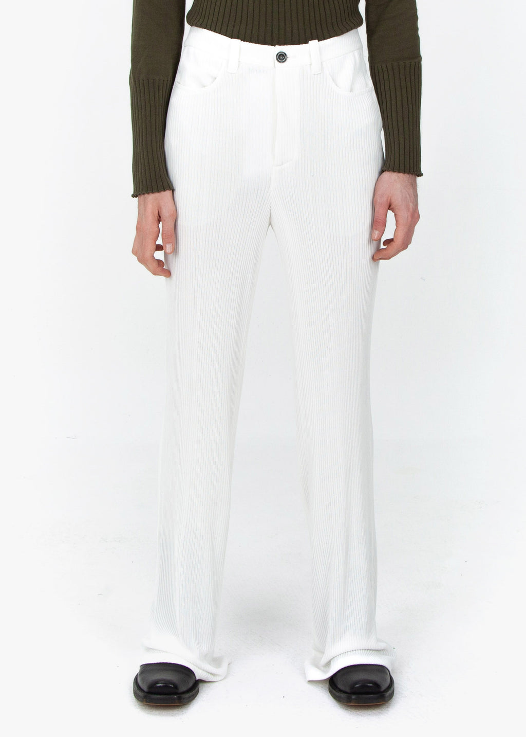 Wide Trousers - White Rib