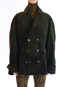 Double Breasted Jacket - Green Velvet