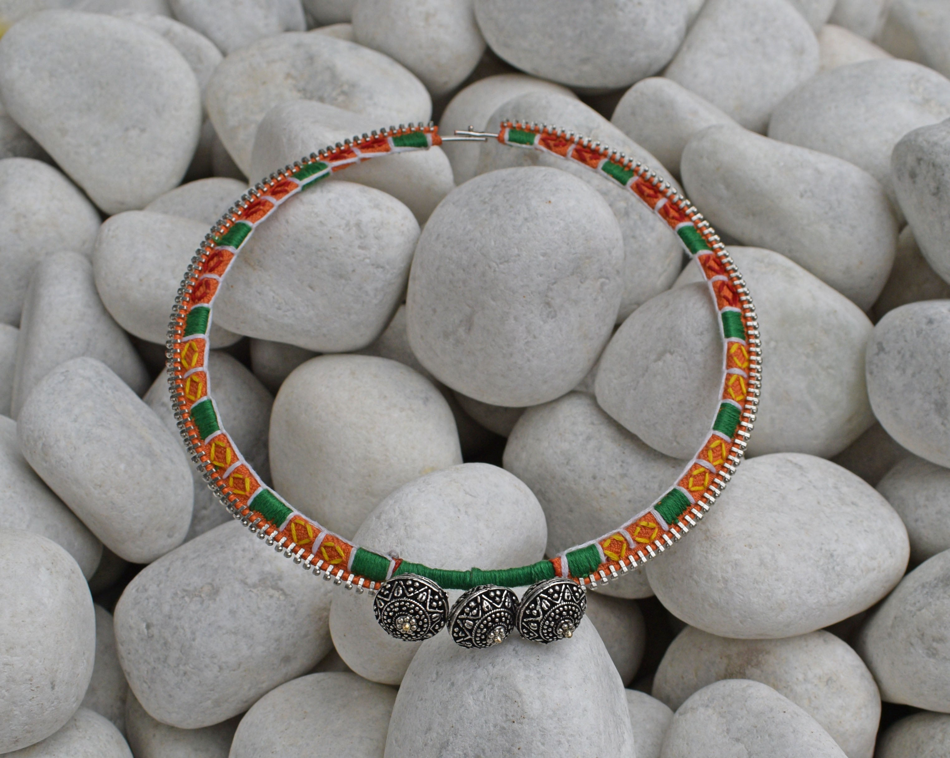Multicolored Silver Tone Hand Embroidered Necklace
