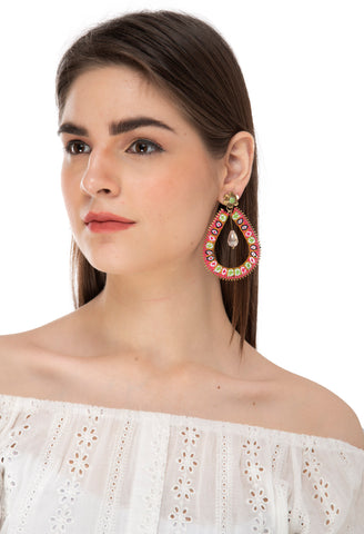 Pink Gold Tone Hand Embroidered Earrings