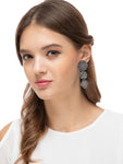 Vintage Dual Tone Earrings with Coins- TEEN DO PAANCH