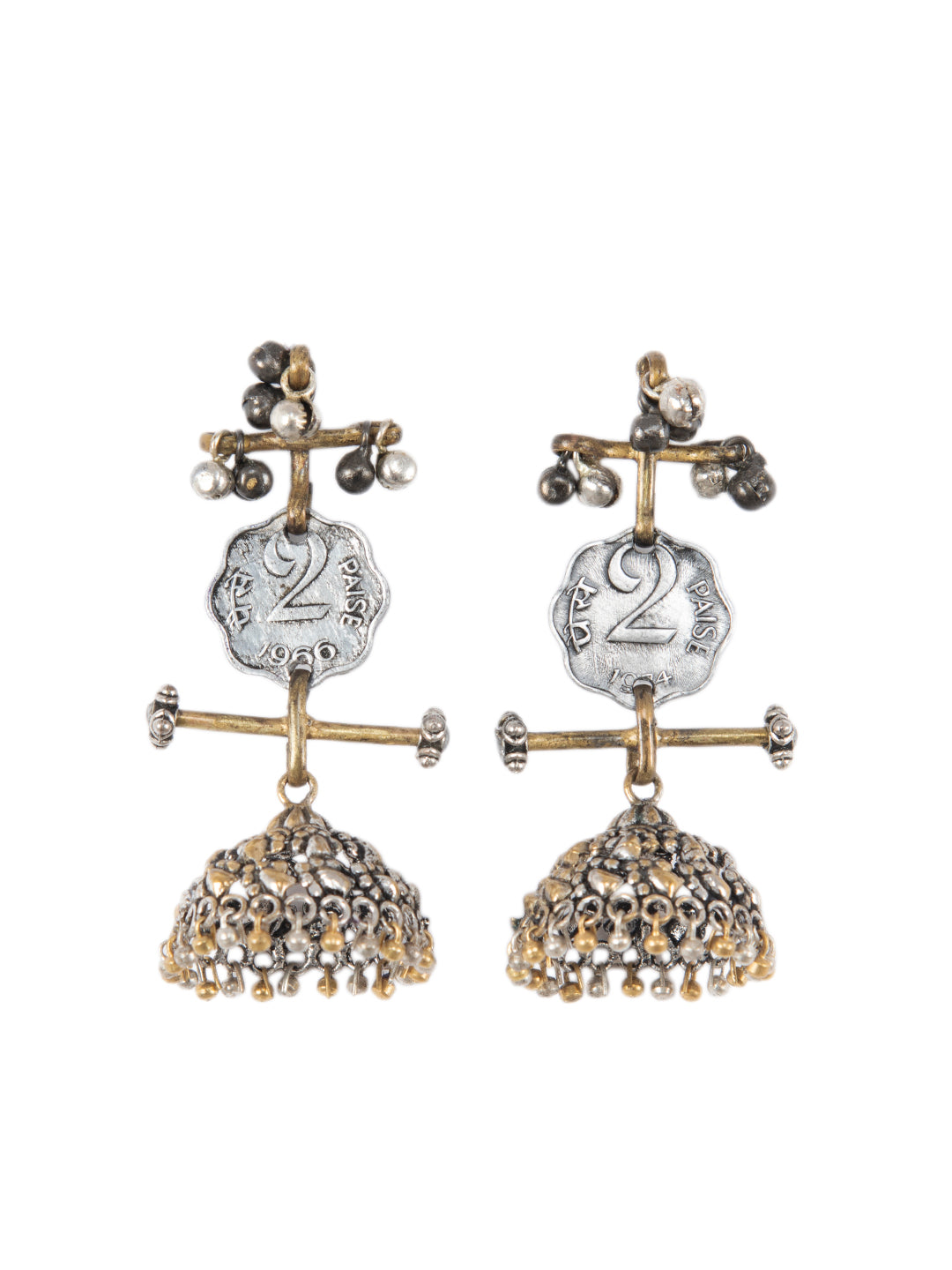 Vintage Dual Tone Earrings with Coins- Do paisa