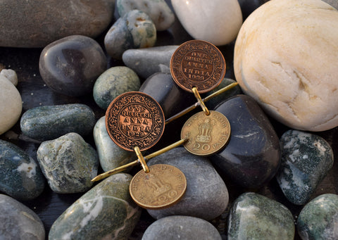 Vintage Dual Tone Earrings with Coins-vintage era