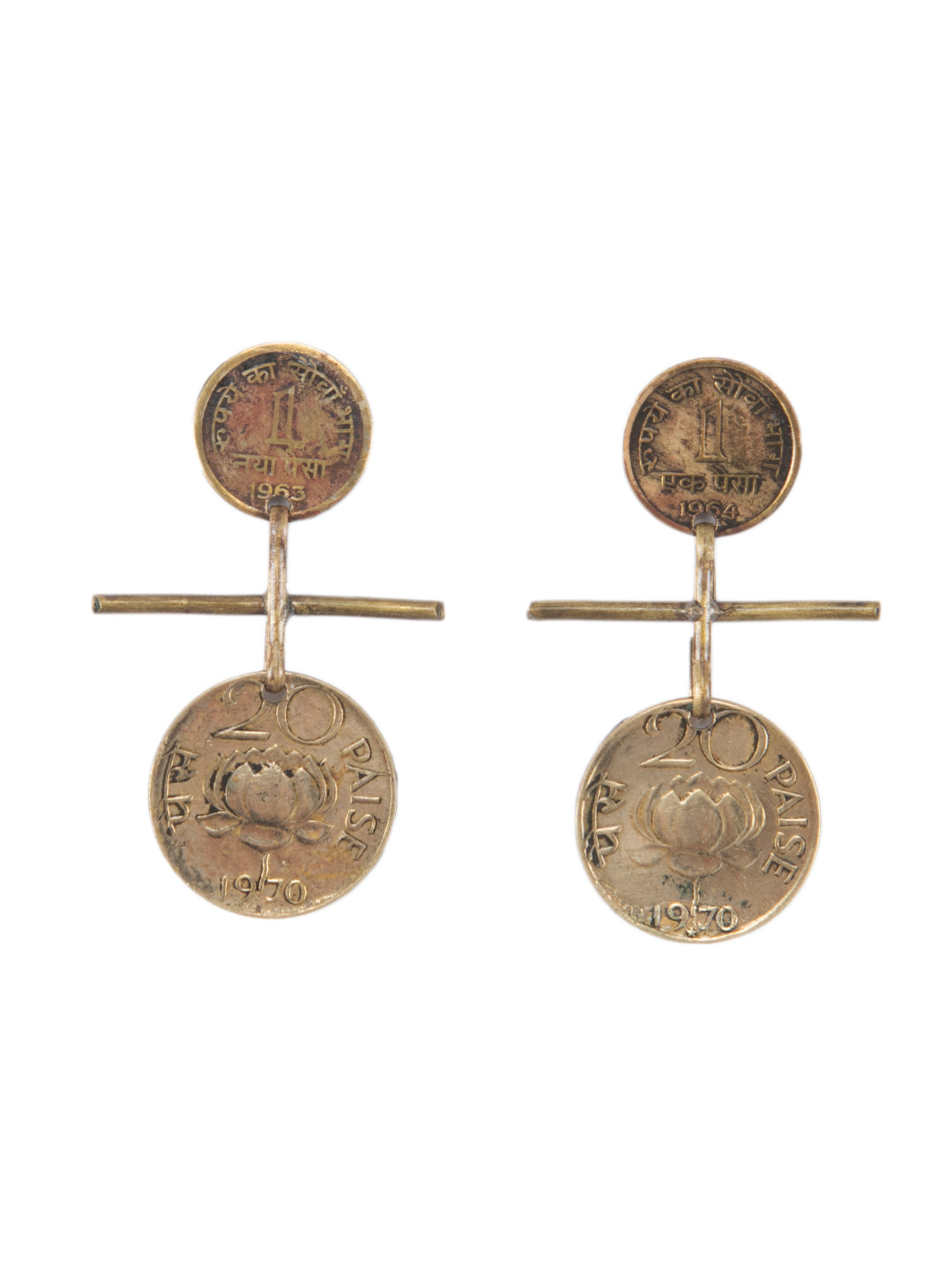 Vintage Dual Tone Earrings with Coins-Falling Lotus