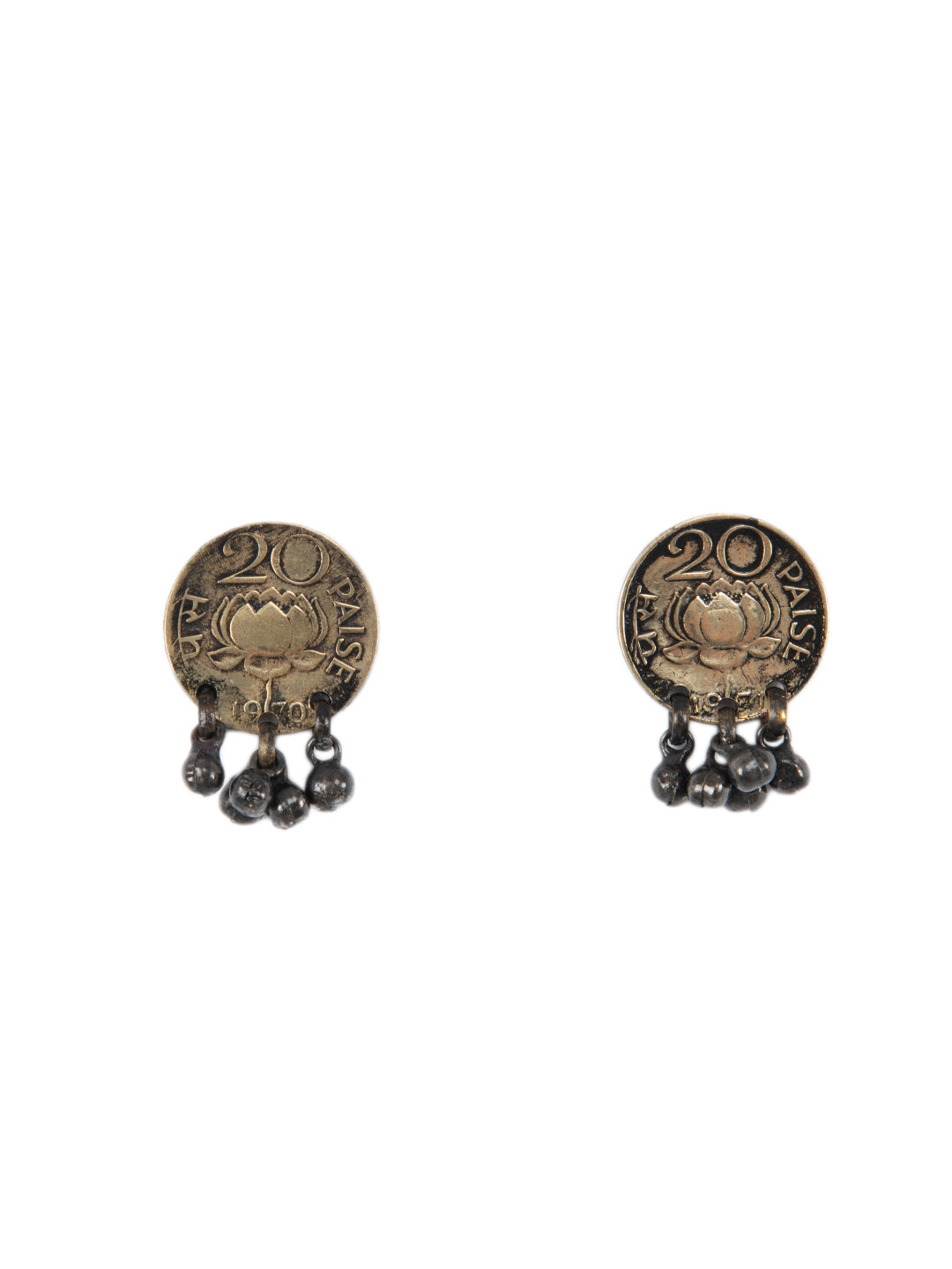 vintage coin Lotus studs with ghungroo