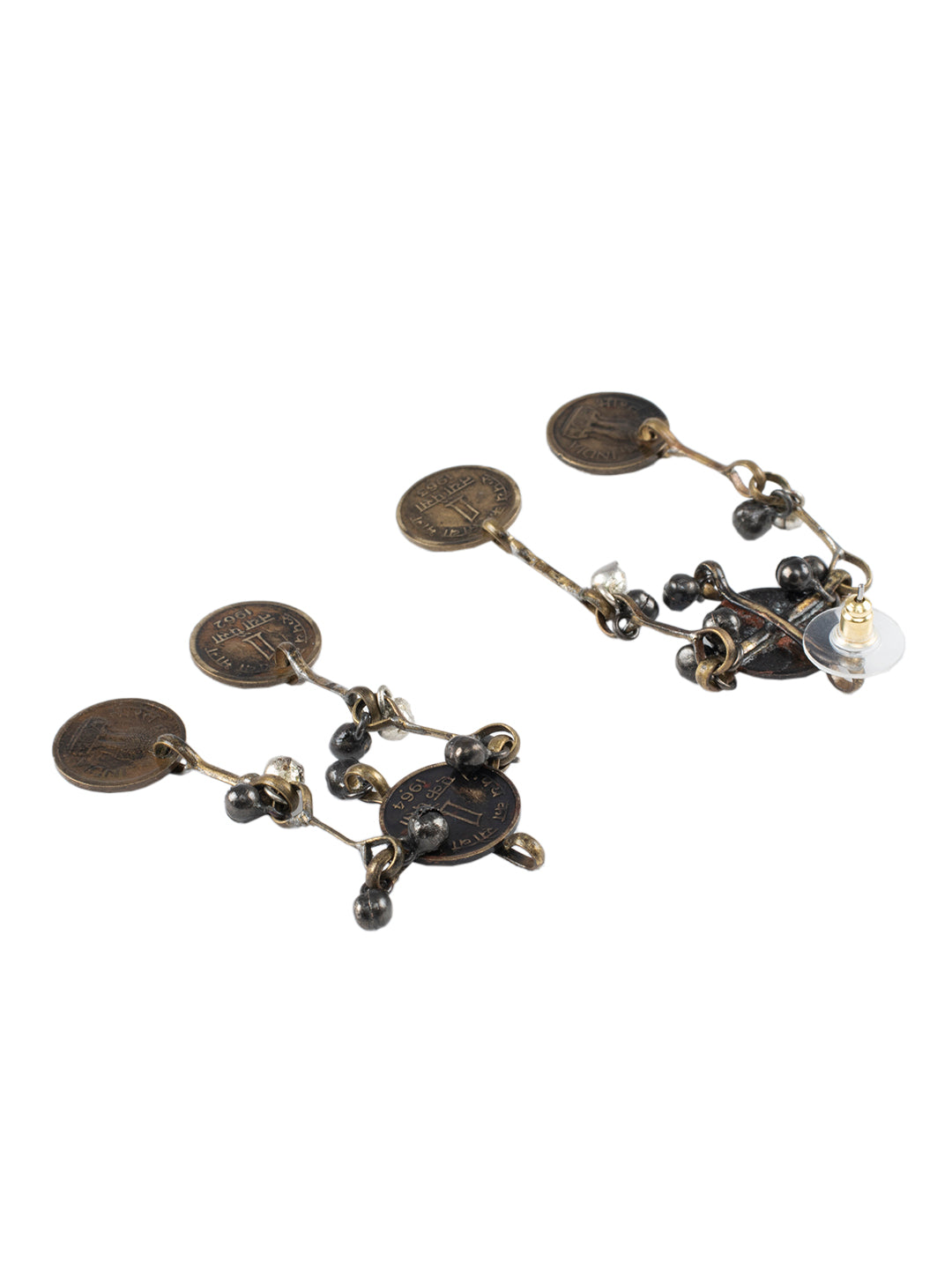 Vintage Dual Tone Earrings with Coins- Tribal