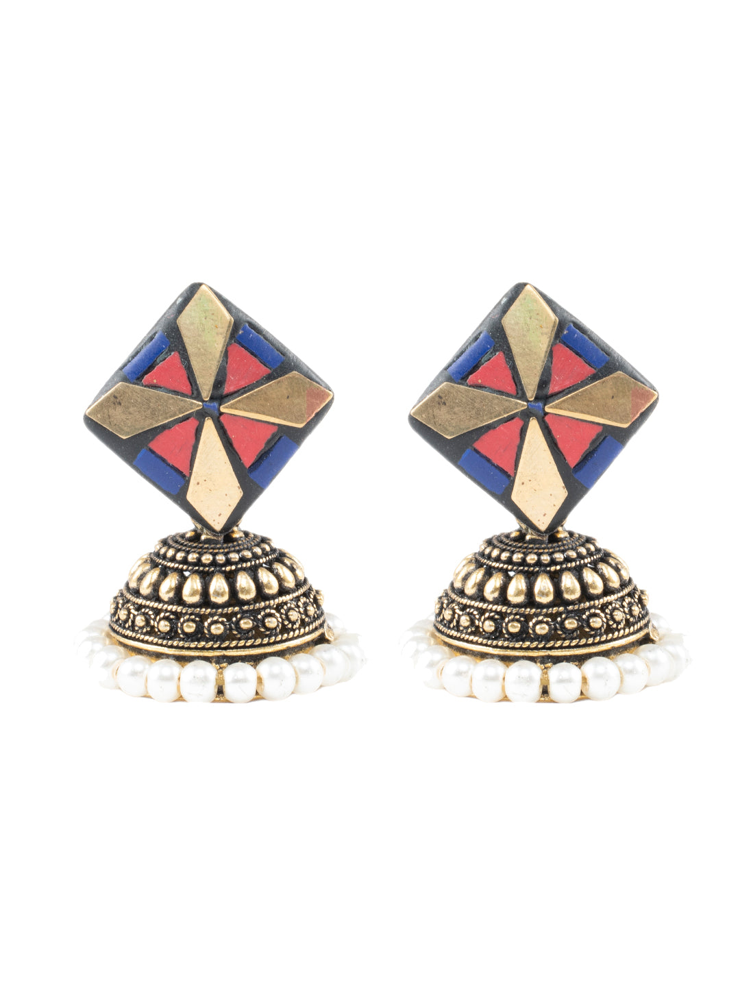 Red Blue Stone Gold Jhumka