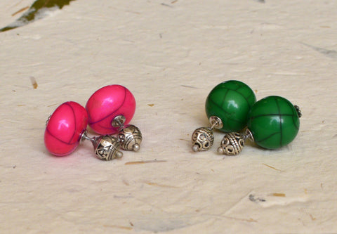 BELA STUDS- PACK OF 2 PINK GREEN
